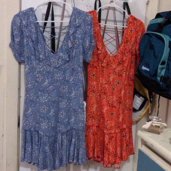 Spell & The Gypsy Collective Dresses & Skirts - Celestial Mini Play Dresses in Flame + Chambray